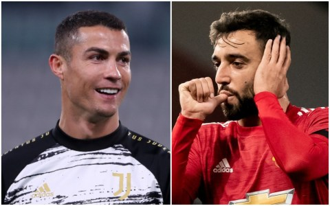 Ronaldo reacts after Fernandes' goals in Man Utd's win over Istanbul