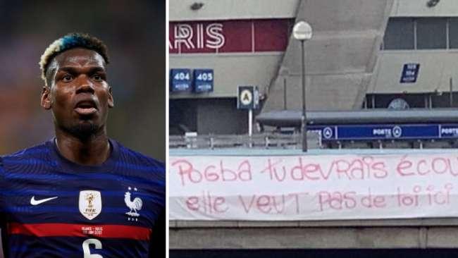 PSG fans hang anti-Paul Pogba banner outside Parc des Princes