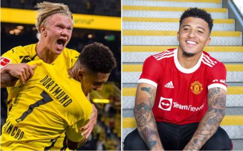 Haaland sends message to Jadon Sancho after completing Man Utd transfer